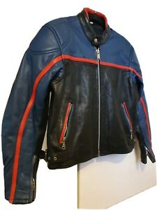 Retro Vintage Mens Leather Jacket small blue/black/red