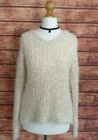 Ladies Jumper Size 10 Fluffy Soft Knit TU Women's Cosy Winter V-NECK Casual VGC
