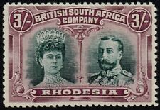 Rhodesia 1910-13 double head issue 3s. lines by King's cheek, MH (SG#158var)