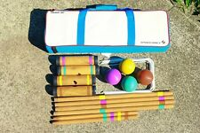 Croquet Set 4 Player Colorful Complete Set with Travel Storage Bag Lawn Game