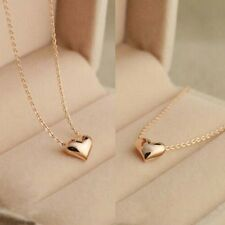 Simple Exquisite Gold Color Chain Heart Love Pendant Girl Neckless