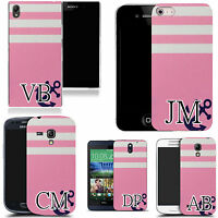 PERSONALISED INITIALS CASE FOR MANY MOBILES - baby pink anchor MONOGRAM