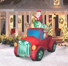 CHRISTMAS SANTA RETRO PICKUP TRUCK Reindeer TREE  AIRBLOWN INFLATABLE DECORATION