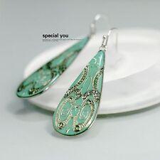 orecchini Argentato Goccia Smalto Turchese Verde Art Deco Class Semplice D9