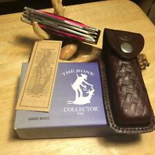 "Handmade Bone Collector Red Bone Damascus 3 Bld 4"" Pocket Knife /Leather Sheath"