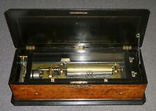 Antique SWISS Interchangeable Cylinder MUSIC BOX. 8 airs. Birds Eye Wood. Works.