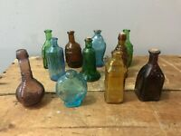Lot Colorful Vintage Made in Taiwan Miniature Glass Bottles Medicine Apothecary