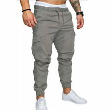 New Men's Slim Fit Urban Straight Leg Trousers Casual Pencil Jogger Cargo Pants