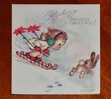 Vintage UNUSED Christmas Card 1946 ANGEL SKIING BUNNY Marjorie COOPER Rust Craft