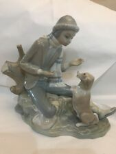 Nao Lladro LESSON FOR THE DOG  Boy Figure Training Dog Spain Porcelain