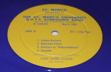 SAN ANTONIO TEXAS St. Mary's University R.O.T.C. Symphonic BAND LP BLUE VINYL