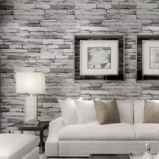 3D Designed Grey Realistic Real Look Up Stack Brick Stone Vinyl Roll Wallpaper