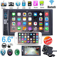 "6.6"" 2 DIN HD Auto Stéréo Autoradio Bluetooth GPS Car MP3 Player USB FM +CAM"