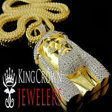 "10K Yellow Gold Silver Simu Diamond Jesus Piece Head Pendant 2.25"" Charm+ Chain"