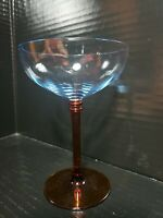 Vintage Blue Optic Bowl Amber Stem Tall Champagne / Sherbet