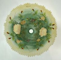 Reverse Rose Floral Hand Painted Glass Lamp Shade by GLYNDA TURLEY 1999