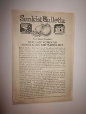 1927 era vintage Sunkist Bulletin - Food Lessons #1 plus Recipes