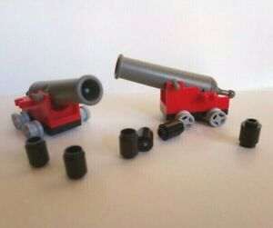 LEGO 2 X CANNONS WITH AMMO AND RED BASES