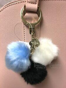 Kate Spade 1KRU0198 Triple Pom Pom Keychain Key Fob Bag Charm Black Blue Wht NWT
