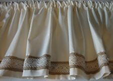 Valance Off-White with Burlap and Lace Trim Decorator Fabric 53W x 14L Farmhouse