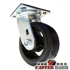 """8"""" X 2"""" Dumpster Swivel Caster - Mold-On-Rubber Wheel - 600 LB Capacity"""