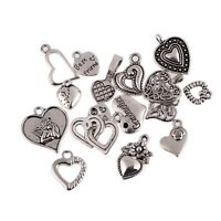 16 Styles Tibetan Silver Heart Series Beads Charms Pendant Fit DIY Jewelry 10pcs