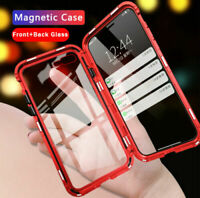 For iPhone 11 Pro Max XR XS Magnetic Adsorption Metal Case +Tempered Glass Cover