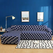 2pcs Sofa Covers Polyester Fabric Stretch Slipcovers for Sectional sofa Darkblue