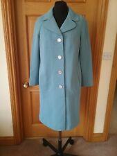 Czarina Ladies Vintage 60's Blue Crimplene Long Coat Size 12 Mod