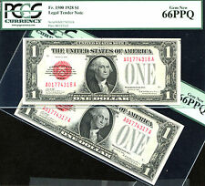 1928, $1 FR 1500- US Note-2 CONSECUTIVE - PCGS 66-JUST 62 NOTES IN HIGHER GRADE