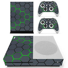 Green Grid Vinyl Decal Skin Stickers for Xbox One S Console & 2 Controllers