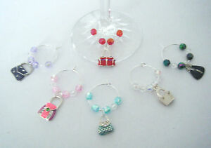 set of 6 wine glass charms enamel handbags ideal birthday or dinner party gift