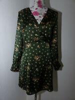 Neues Morgan Damen Satin Kleid Gr 44 Grün Blumenprint V-Ausschnitt Langarm