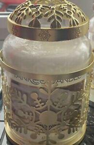 """NEW YANKEE LARGE CANDLE """"SNOWFLAKE FROST"""" JAR SLEEVE HOLDER + ILLUMINA LID GOLD"""