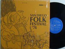 VARIOUS San Diego Folk Festival 1974 VG++ LP in shrink Sam Hinton Utah Phillips