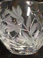 """Frosted Floral Crystal Bowl with Cut Leaves 3.25"""""""