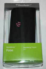 100% Original Blackberry Torch 9800 9810 Folio De Cuero Pouch Espejo + Correa-Nuevo