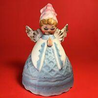 """LEFTON ANGEL BELL VINTAGE PORCELAIN BISQUE BLUE PINK GOLD 4"""" PRAYING"""