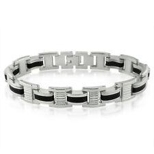 Men's Stainless Steel and Black Rubber Link Bracelet