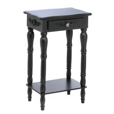 Shabby Colonial Chic Distressed Black Carved Wood Side Table