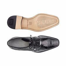 Belvedere Mens Shoes Batta Black Genuine Ostrich Lace Up 14006
