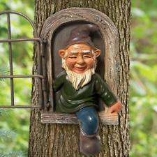 Garden Gnome Statue Elf Out The Door Tree Hugger, Garden Peeker Yard Art
