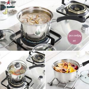 3PCS Induction Pan Set Stainless Steel Cookware Saucepan Glass Lids Pan Pot UK