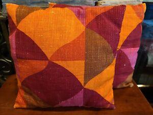 """Funky Geometric 12"""" Cotton Pillow Throw Cushion Fashion Sofa Decor Red & Orange"""