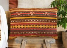 (40*60cm, 16*24inch) Vintage Woven Kilim Covers tribal weave yellow red brown