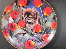 Franklin Mint Royal Doulton Mitchell TIPTOE THROUGH THE TULIPS Cat Ltd Ed Plate