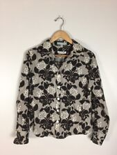 Pendleton Large Florals Black, White, Brown Blouse, Size 10P