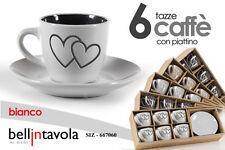 SET 6 TAZZINE CAFFE' CON PIATTINO TONDO DECORO CUORE CUCINA 88 ML SIZ-667060