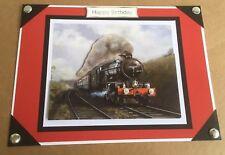 A5 Handmade Happy Birthday card 3D decoupage Vintage Steam Train