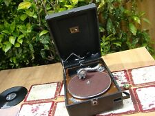 Vintage HMV HIS MASTER VIOICE  Portable Gramophone Model 102 &Sound Box No 5B